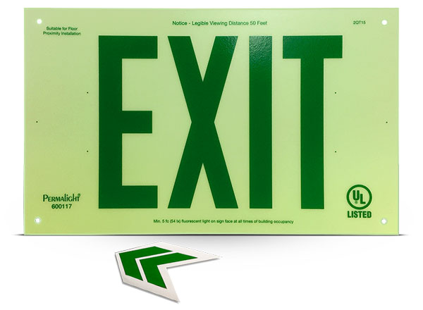 Photoluminescent Unframed Green Exit Sign
