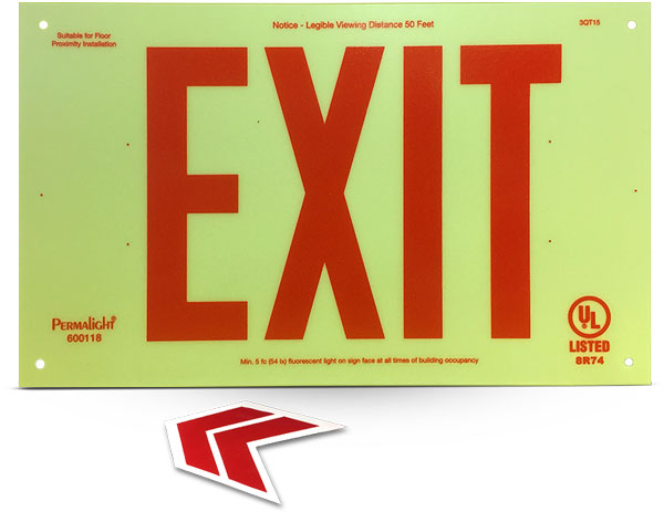 Photoluminescent Unframed Red Exit Sign