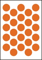 "3/4"" Diameter Vinyl Stick-on Orange Circles"