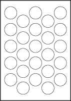 "3/4"" dia. Vinyl Ceiling Labels, sold in sheets containing 25 circles."