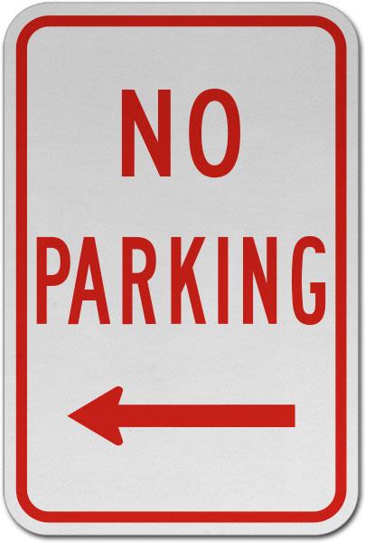 No Parking (Left Arrow) Sign