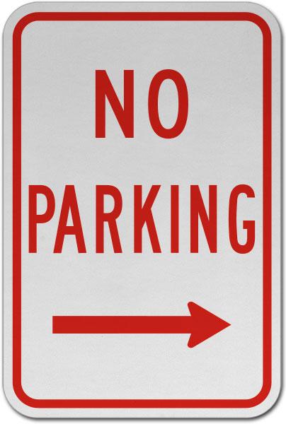 No Parking (Right Arrow) Sign