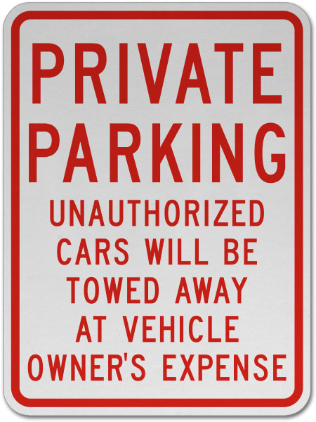 Private Parking Cars Will Be Towed Sign