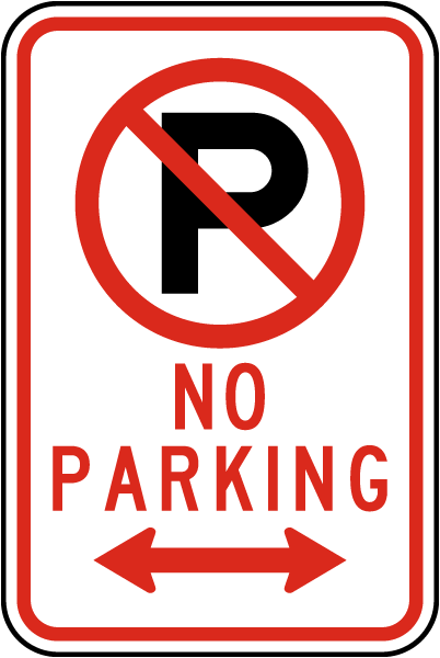 No Parking (Double Arrow) Sign