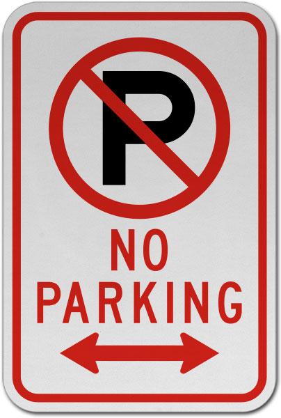 No Parking (Double Arrow) Sign