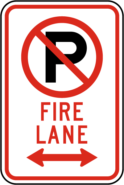 "Fire Lane Sign with ""P"" symbol and double arrow"