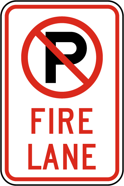 "Fire Lane Sign with ""P"" symbol"