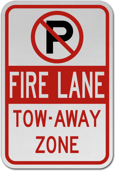 No Parking Fire Lane Tow Away Zone Sign