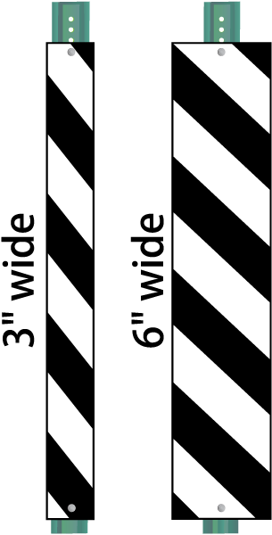 Black / White Striped Reflective Post Panel
