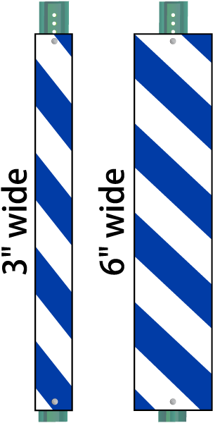 Blue / White Striped Reflective Post Panel