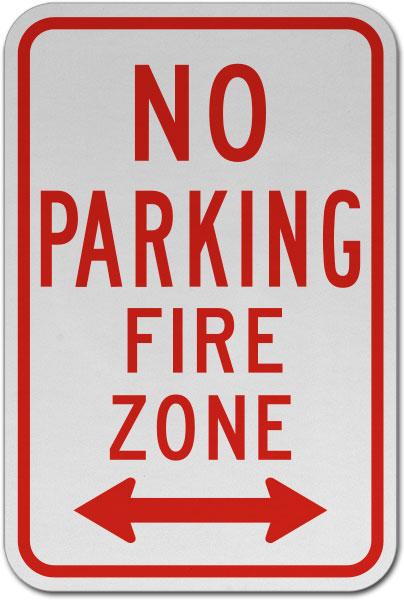No Parking Fire Zone (Double Arrow) Sign