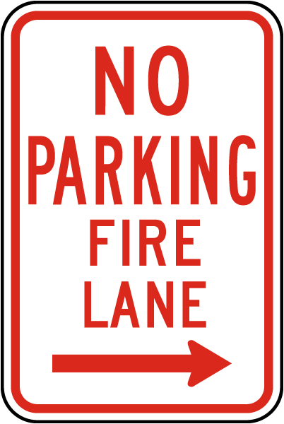 No Parking Fire Lane Sign with right
