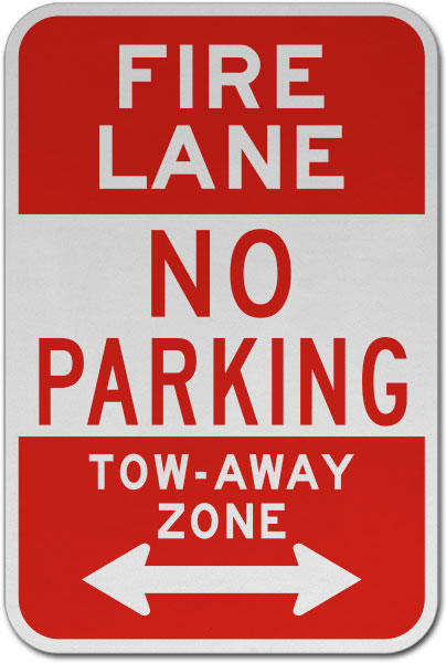 Fire Lane No Parking Tow Away Zone Sign