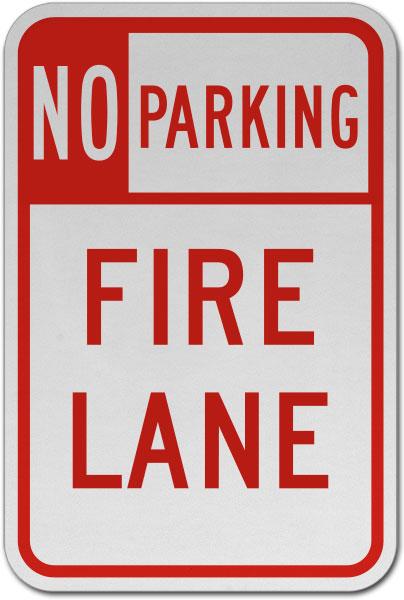 No Parking Fire Lane Sign