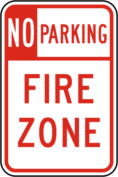 No Parking Fire Zone Sign