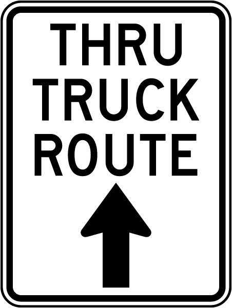 Thru Truck Route Sign with up arrow
