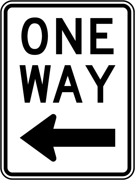 One Way Sign with left arrow