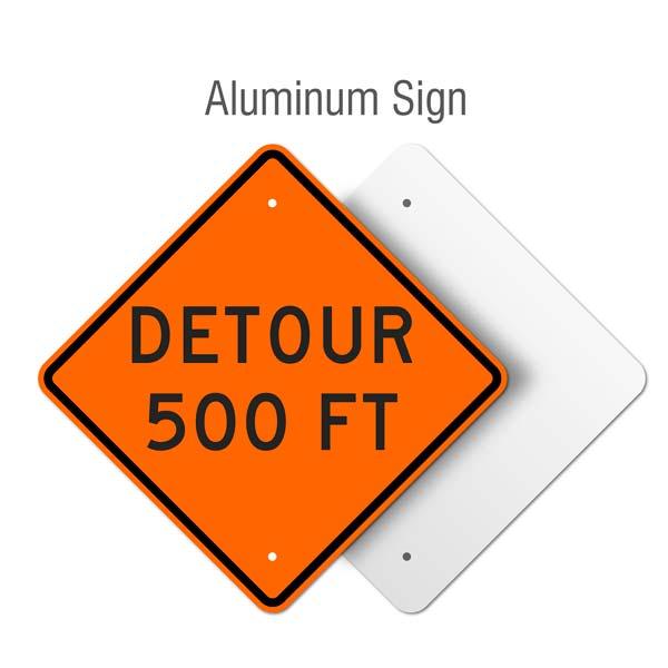 Detour 500 FT Sign