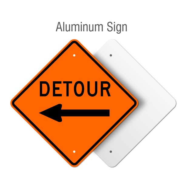 Detour Left Sign