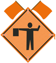 Flagger symbol Sign with flags