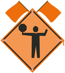 Traffic Control Paddle symbol Sign with flags
