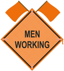 Men Working Sign with flags