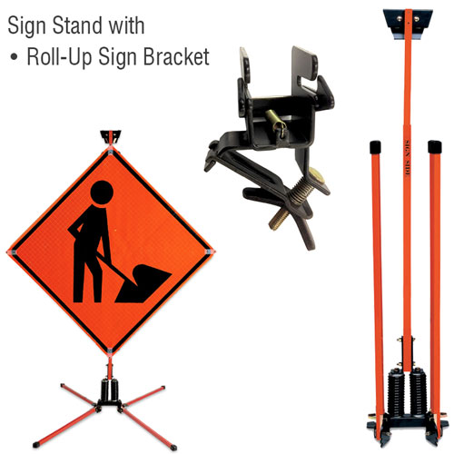 Steel Leg Dual Spring Stand For Roll-Up Signs