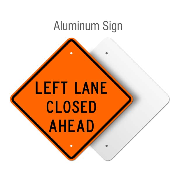 Left Lane Closed Ahead Sign