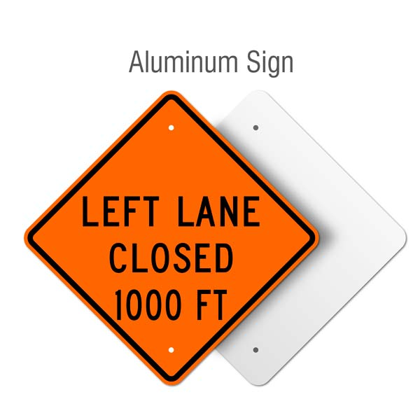 Left Lane Closed 1000 FT Sign