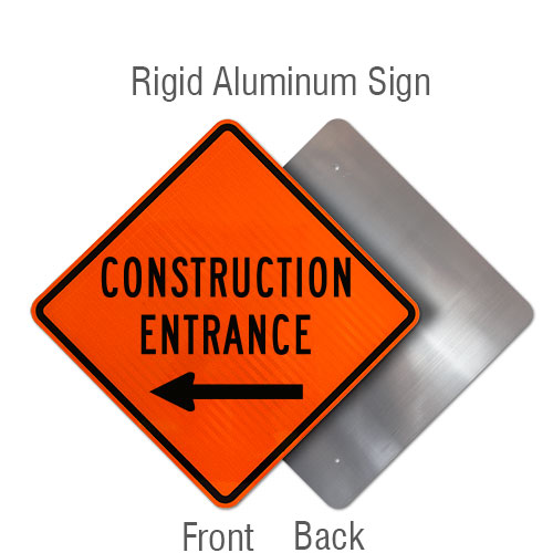 Construction Entrance Sign with Left Arrow