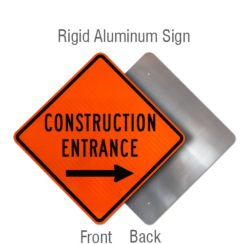 Construction Entrance Sign with Right Arrow