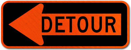 Detour Left Arrow Sign