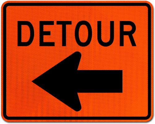 Detour Sign (Left Arrow)