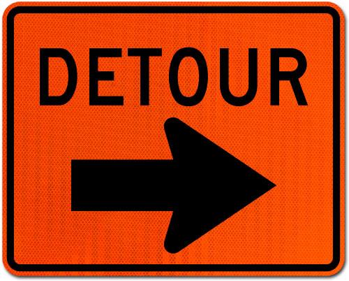 Detour Sign (Right Arrow)