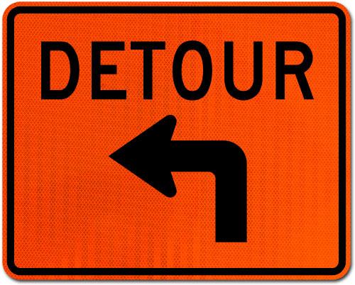 Detour Left Turn Sign