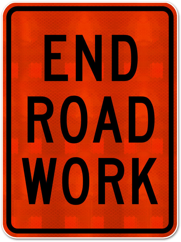 End Road Work Sign