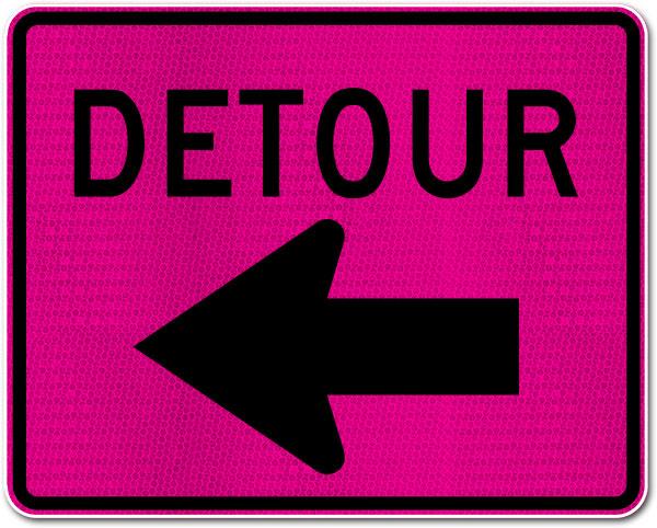 Pink Detour Sign (Left Arrow)