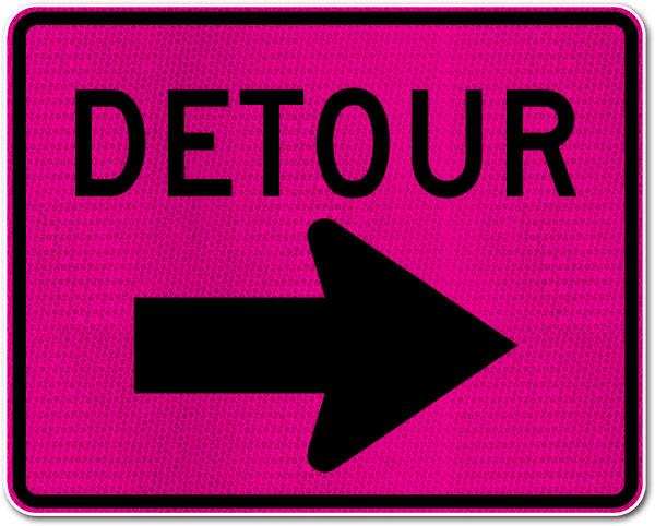 Pink Detour Sign (Right Arrow)