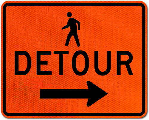 Pedestrian Detour Sign (Right Arrow)