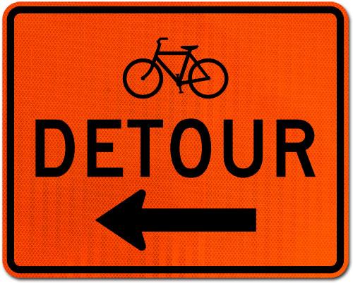 Bike Detour Sign (Left Arrow)