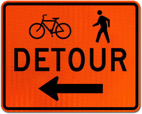 Bike / Pedestrian Detour Sign (Left Arrow)