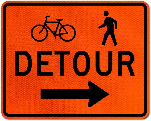 Bike / Pedestrian Detour Sign (Right Arrow)