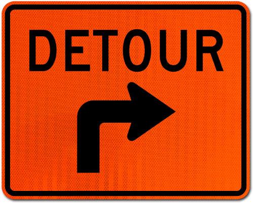 Detour Right Turn Sign