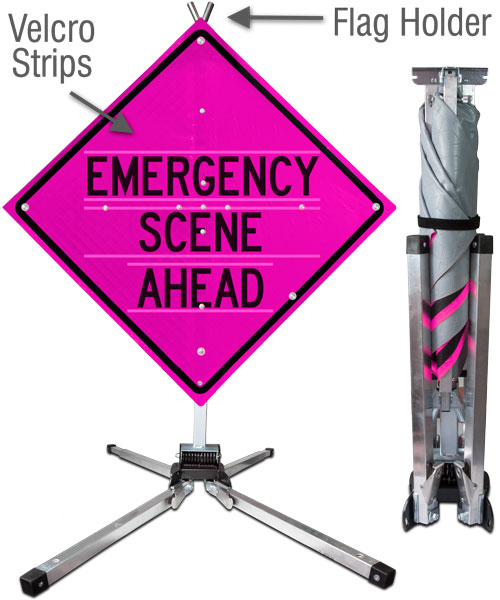 Emergency Scene Ahead All-in-One Sign and Stand