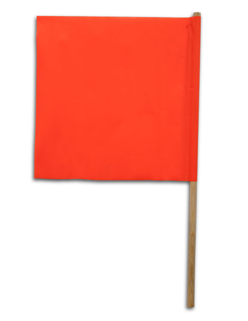 Orange Vinyl Flag with Wood Handle