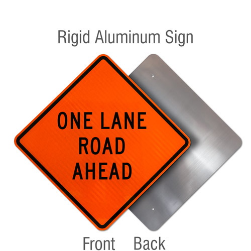 One Lane Road Ahead Sign