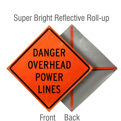 Danger Overhead Power Lines Roll-Up Sign