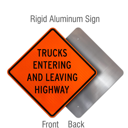 Trucks Entering and Leaving Highway Sign