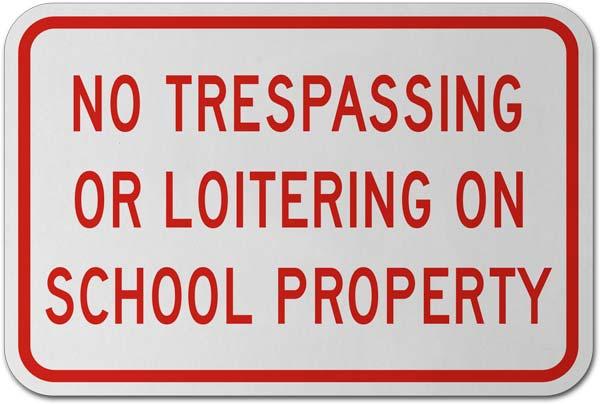 No Trespassing or Loitering Sign