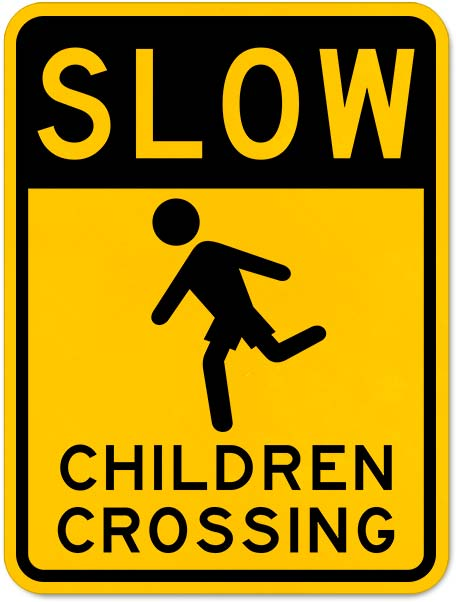 Slow Children Crossing Sign